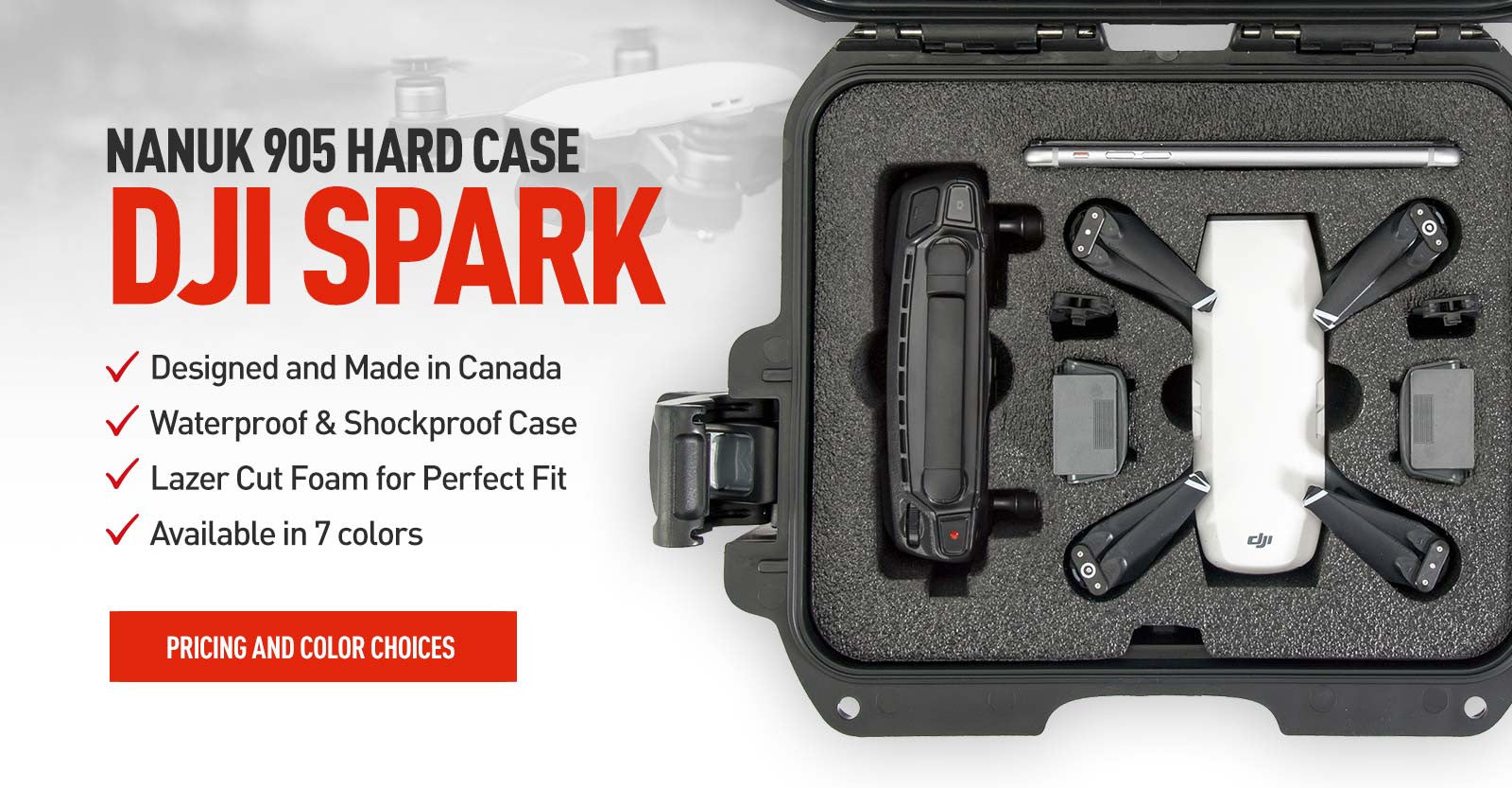 Top view of a Nanuk 905 DJI Spark Hard Case in Graphite