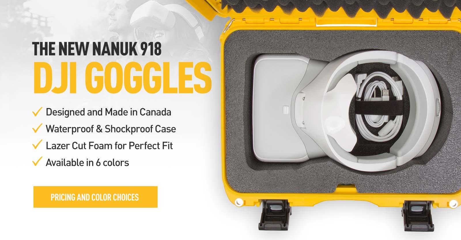 Top view of a Nanuk 918 DJI Goggles Hard Case in Yellow