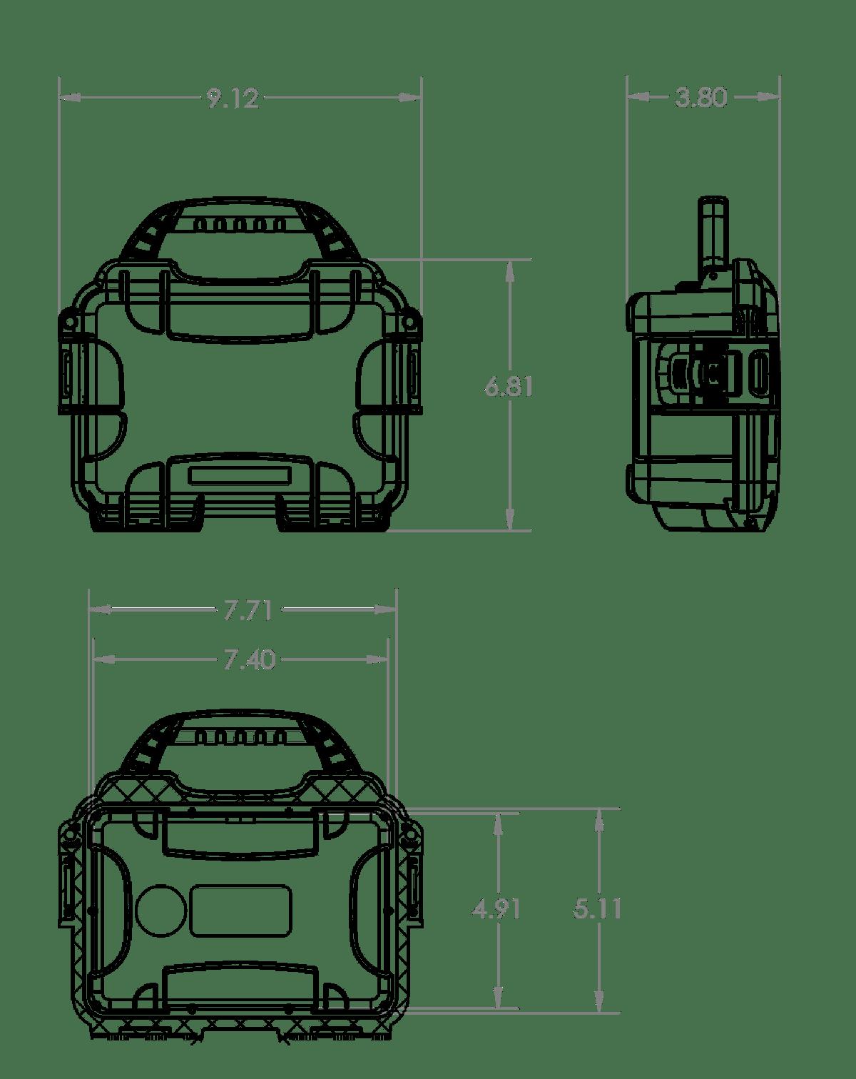 Dimensions of the Nanuk 903 Hard Case