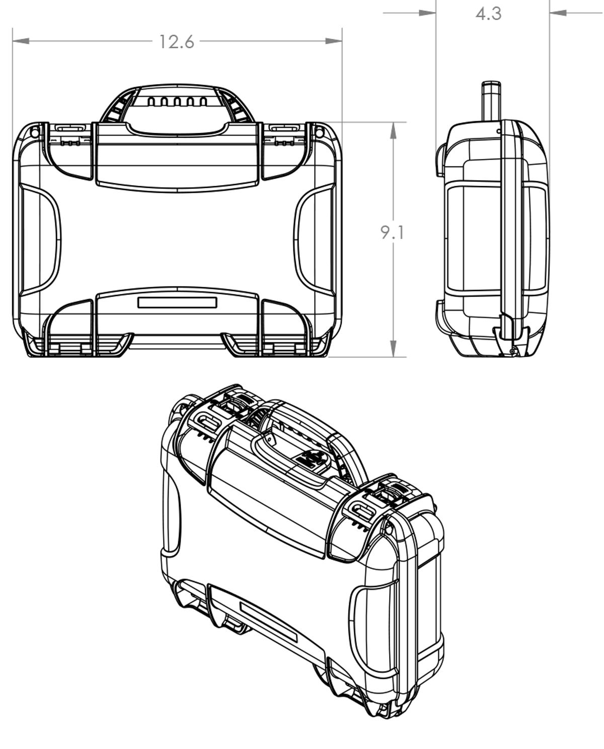 Dimensions of the Nanuk 909 Classic Pistol Case Hard Case