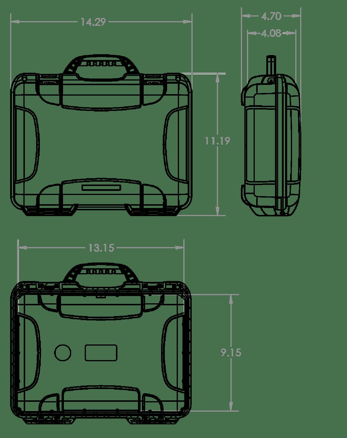 Dimensions of the Nanuk 910 Hard Case