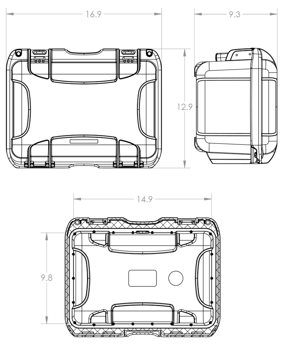 Dimensions of the Nanuk 918 DJI Goggles Case Hard Case