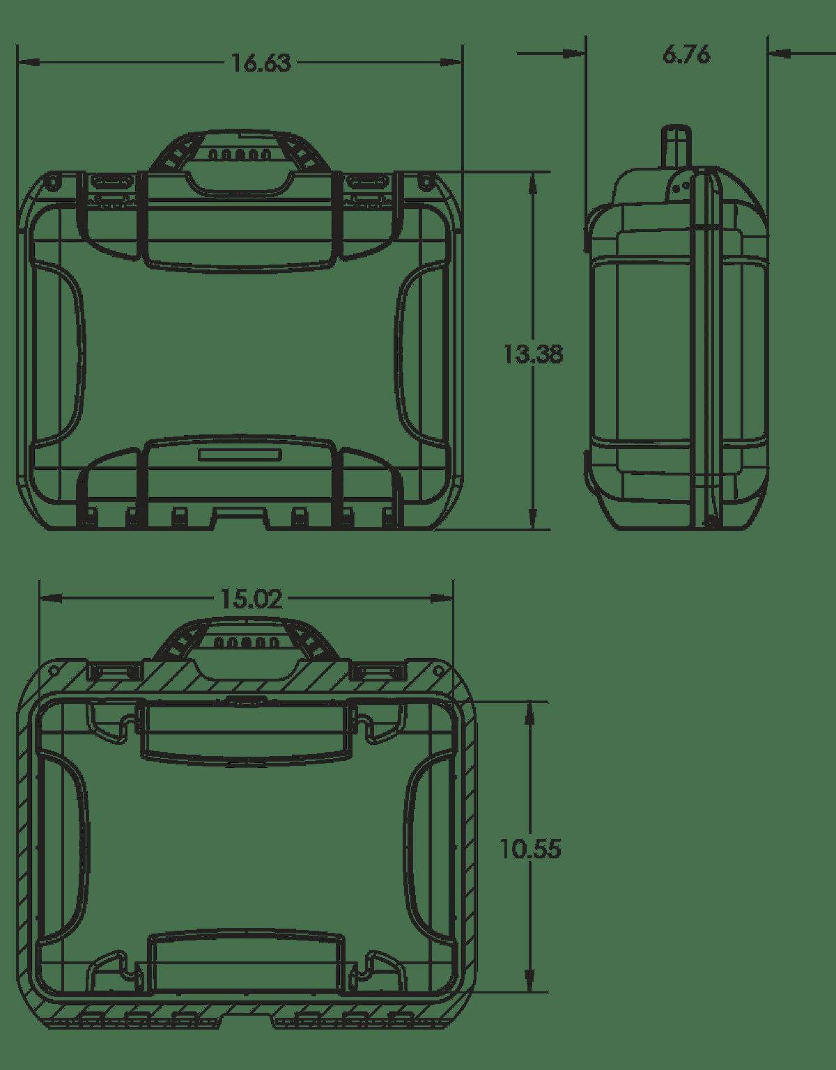 Dimensions of the Nanuk 920 Uni Mag Hard Case
