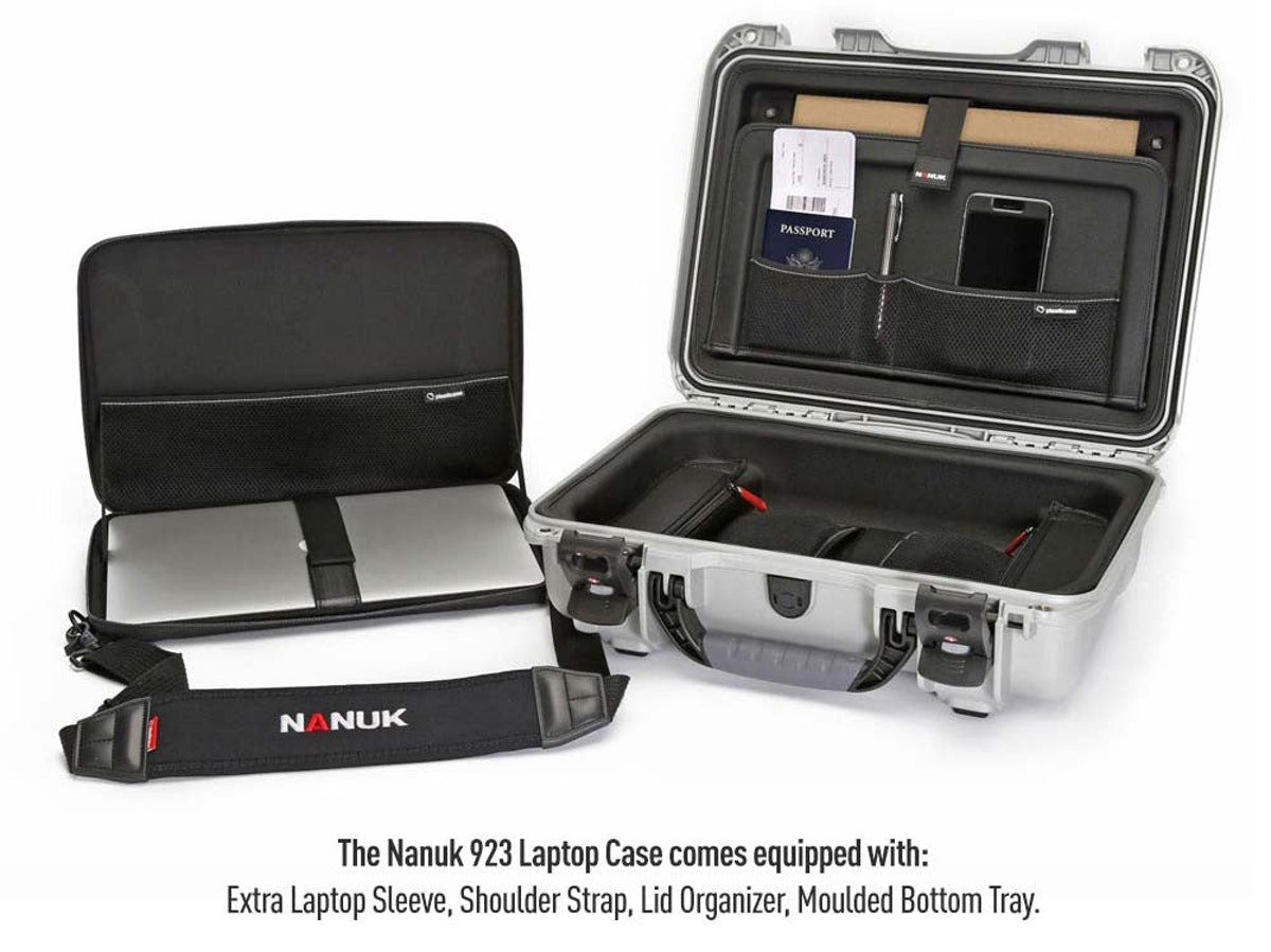 Nanuk 923 Laptop Hard Case in Silver - with interior sleeve and moulded bottom