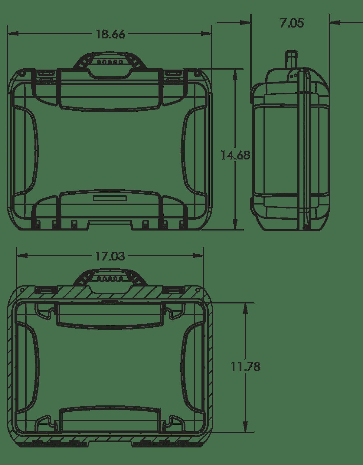 Dimensions of the Nanuk 925 4 Up Pistol Hard Case