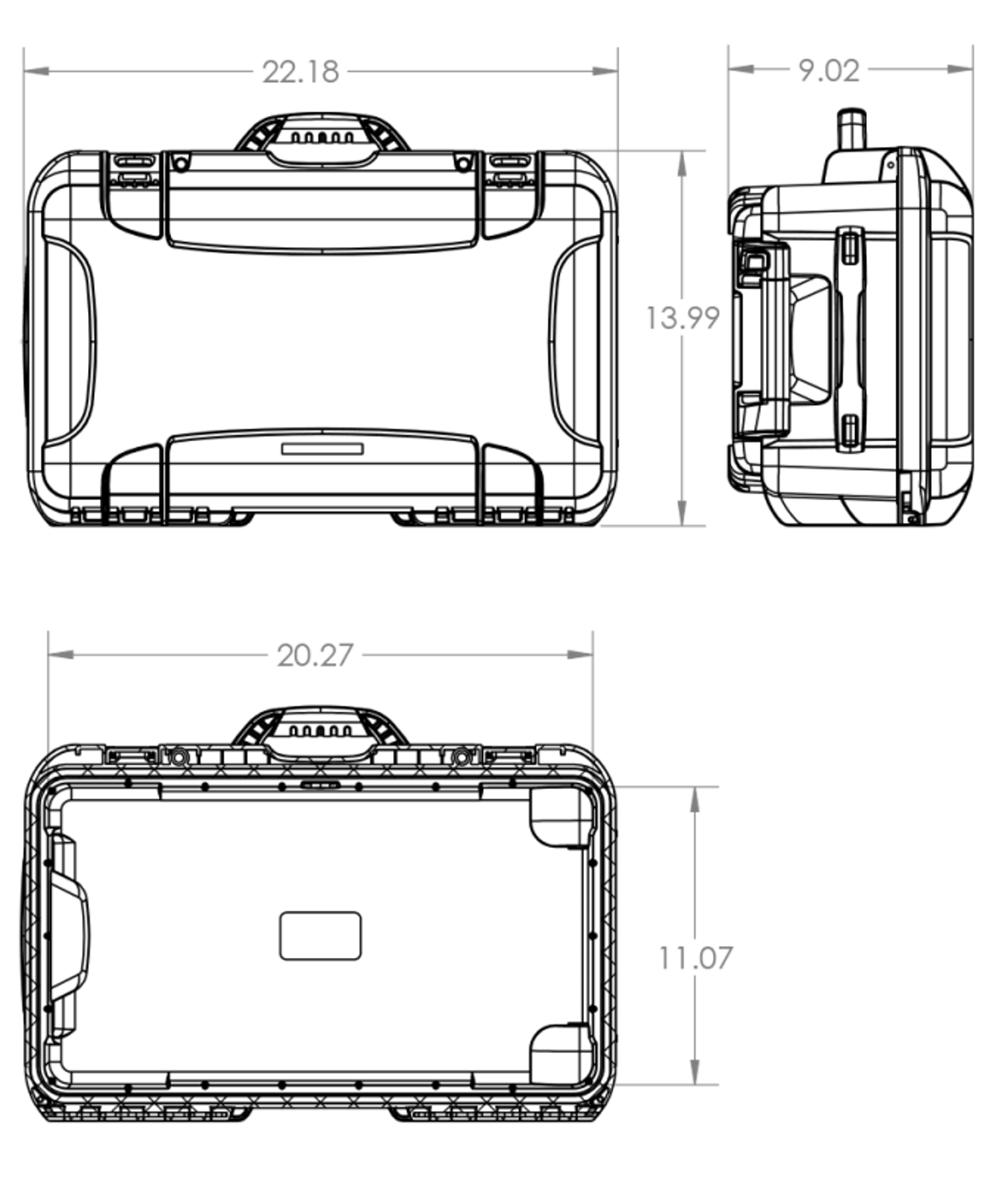 Dimensions of the Nanuk 935 6 Up Pistol Hard Case