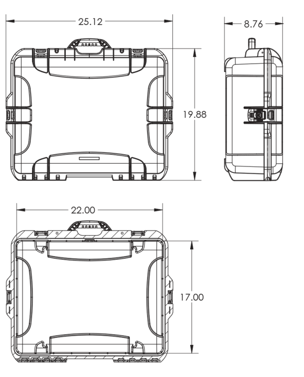 Dimensions of the Nanuk 945 Hard Case