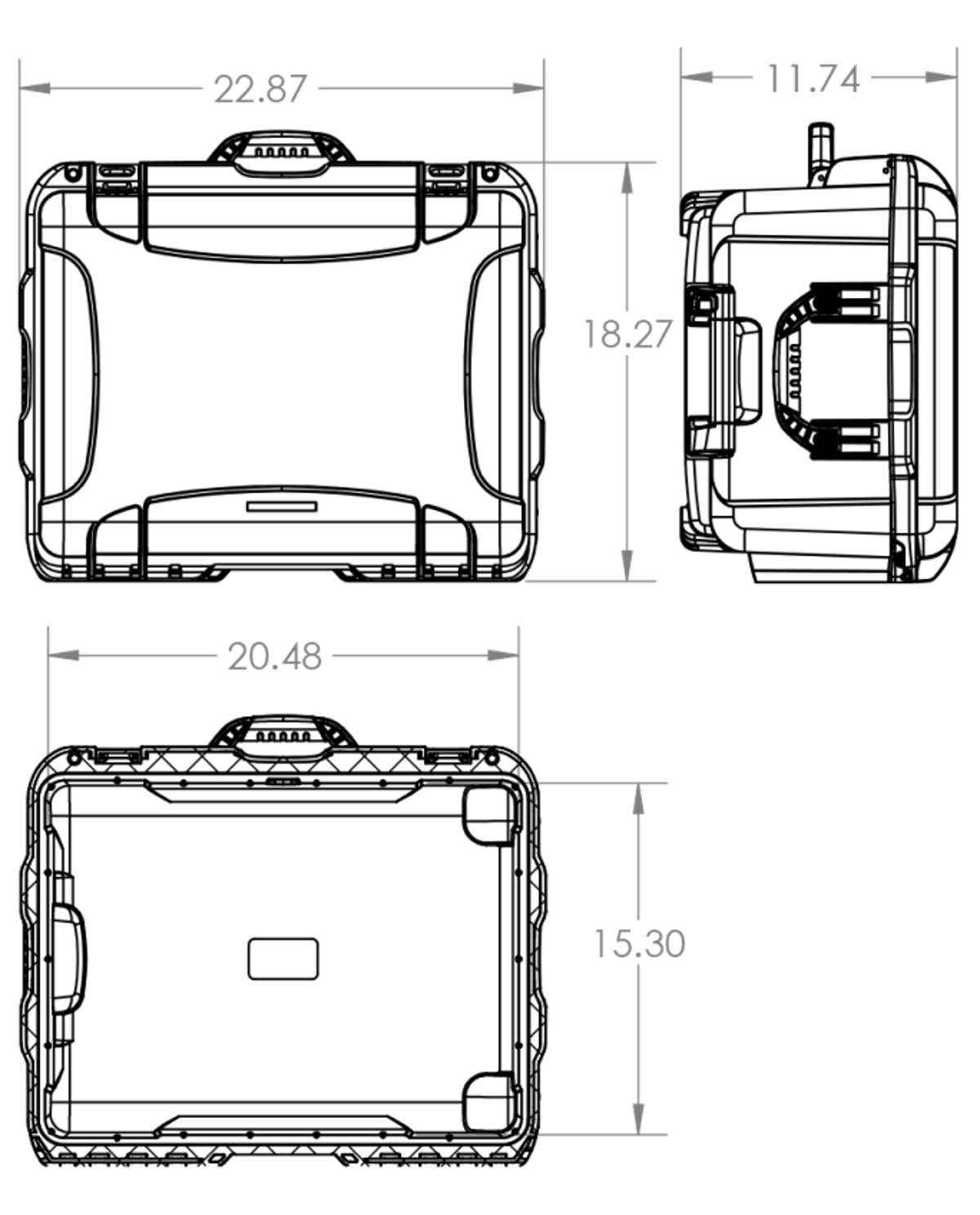 Dimensions of the Nanuk 950 DJI Phantom Hard Case