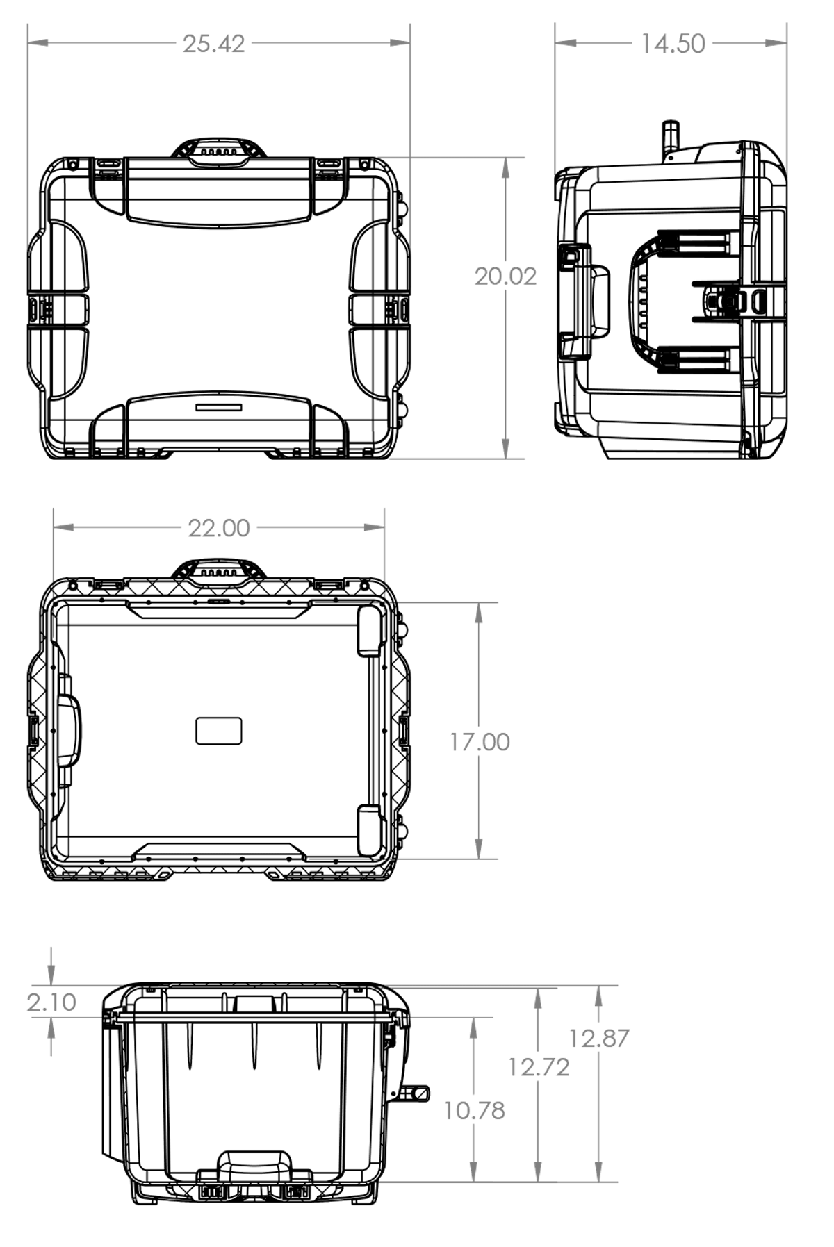 Dimensions of the Nanuk 960 Hard Case