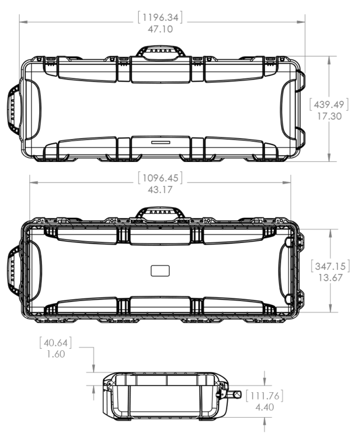 Dimensions of the Nanuk 990 AR Hard Case