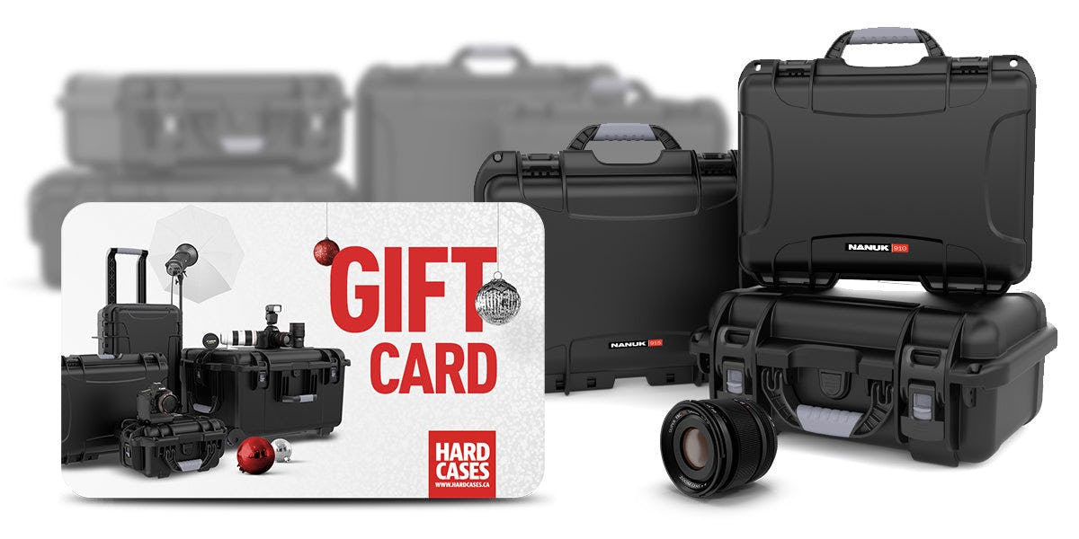 Nanuk Hard Case Gift Card with Cases in the Background